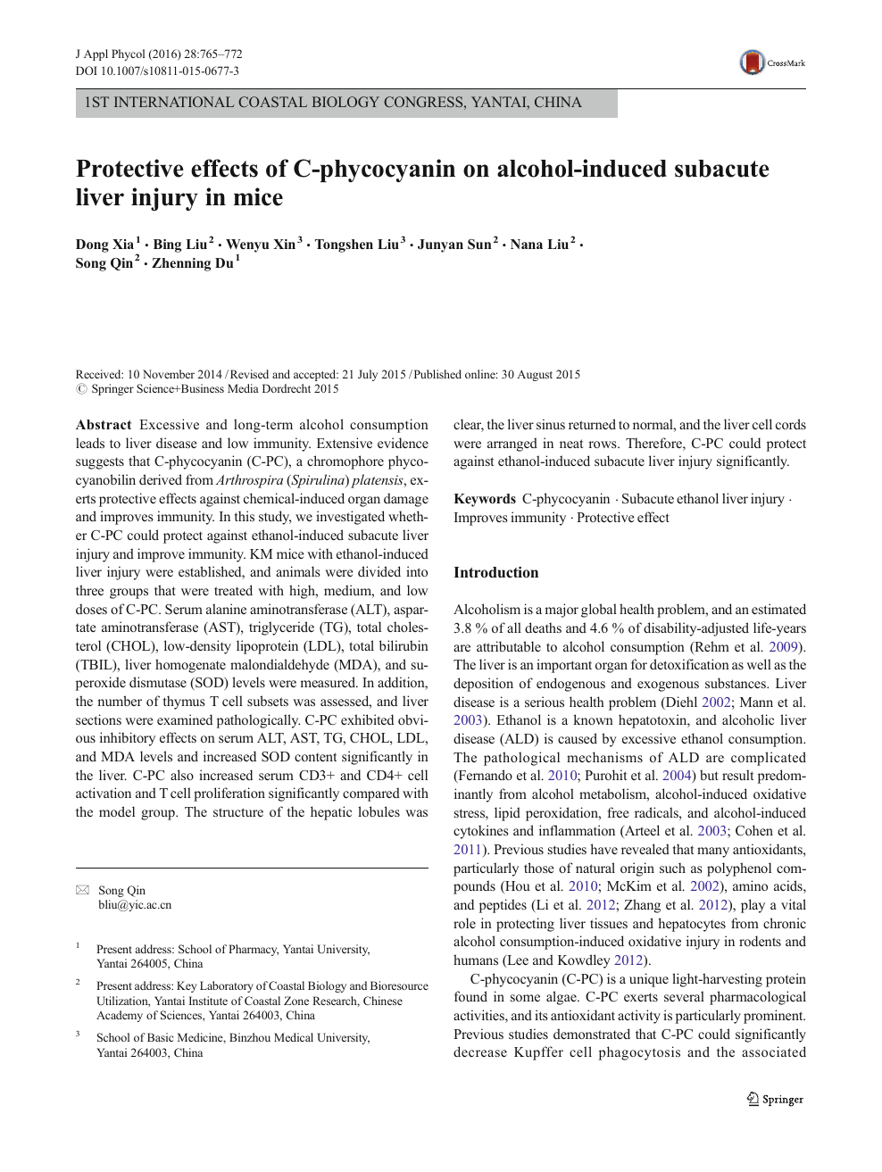 Protective effects of C-phycocyanin on alcohol-induced