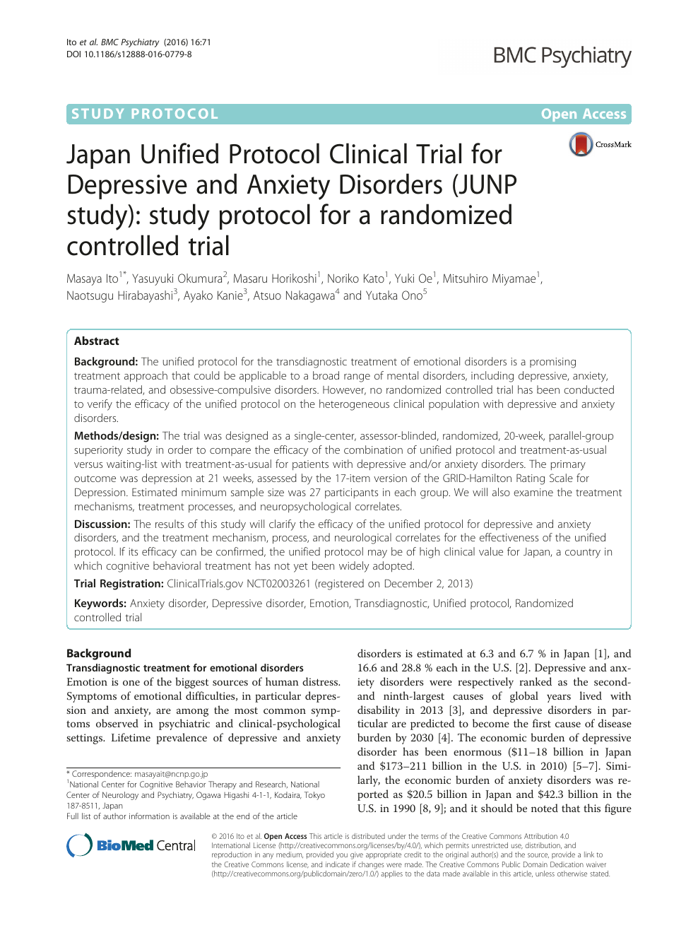 Japan Unified Protocol Clinical Trial for Depressive and