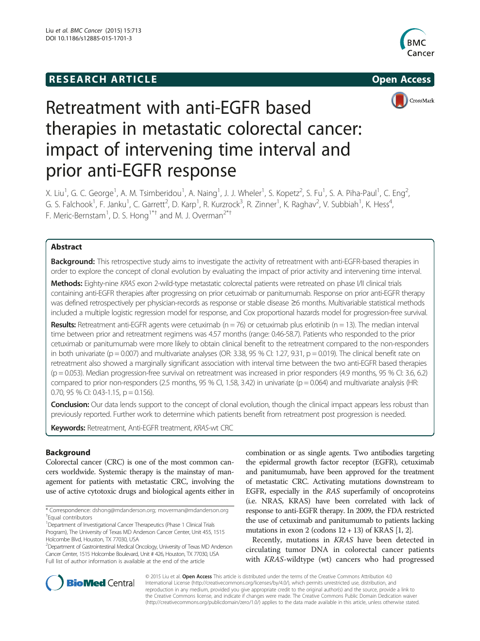 Retreatment With Anti Egfr Based Therapies In Metastatic Colorectal Cancer Impact Of Intervening Time Interval And Prior Anti Egfr Response Topic Of Research Paper In Clinical Medicine Download Scholarly Article Pdf And Read