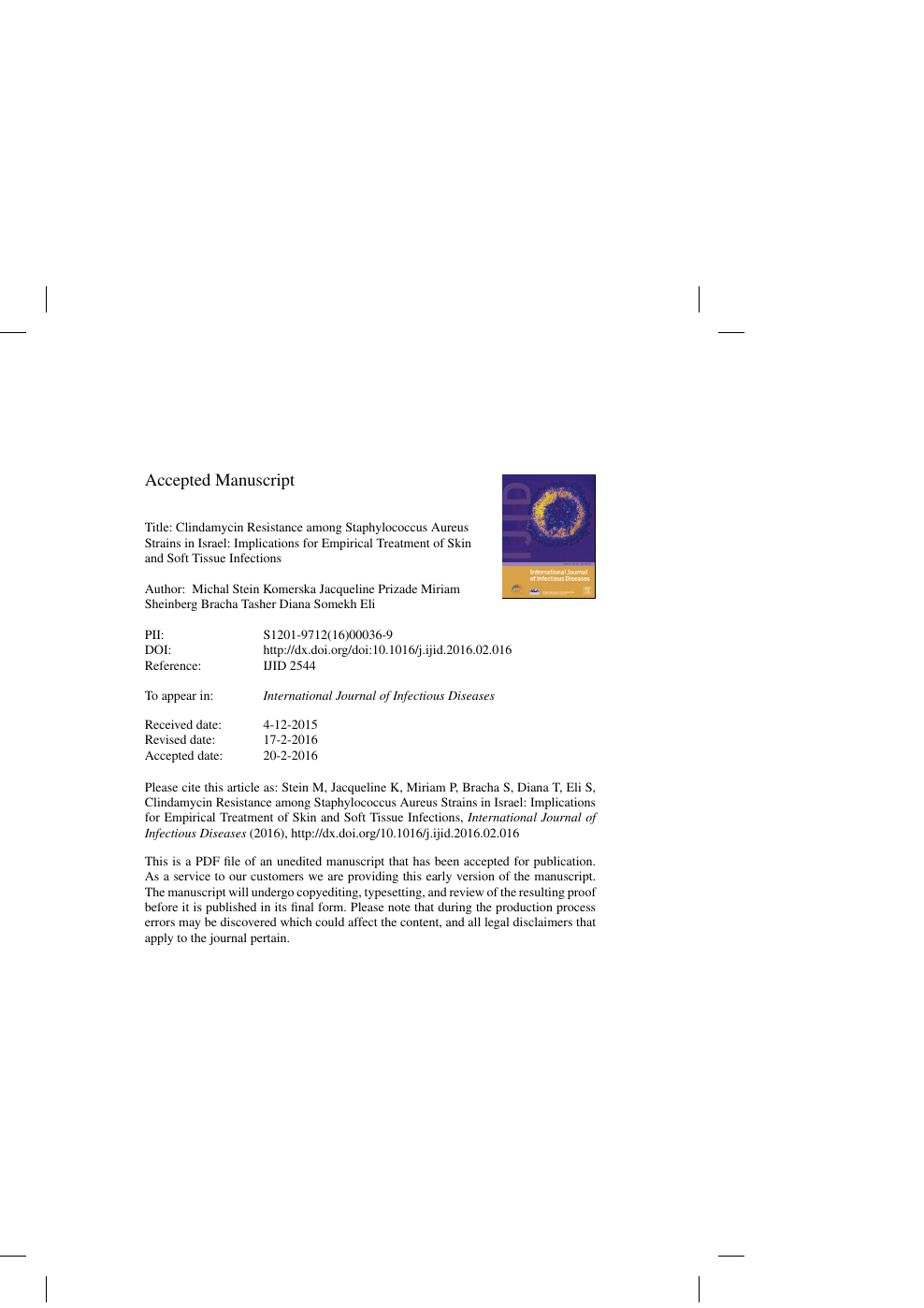 Clindamycin Resistance among Staphylococcus Aureus Strains in Israel