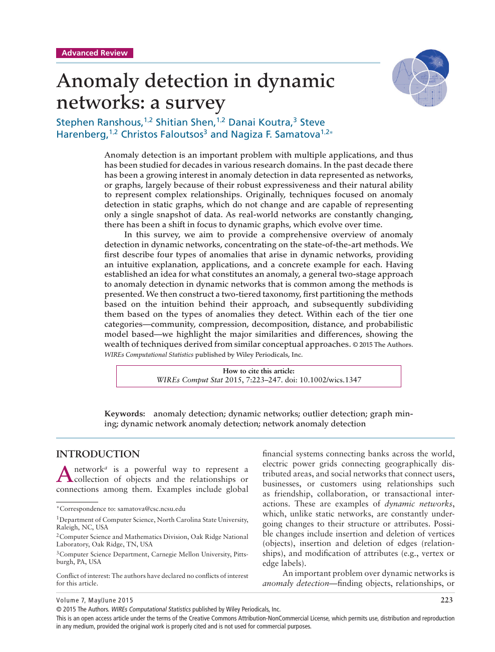 Anomaly detection in dynamic networks: a survey – topic of