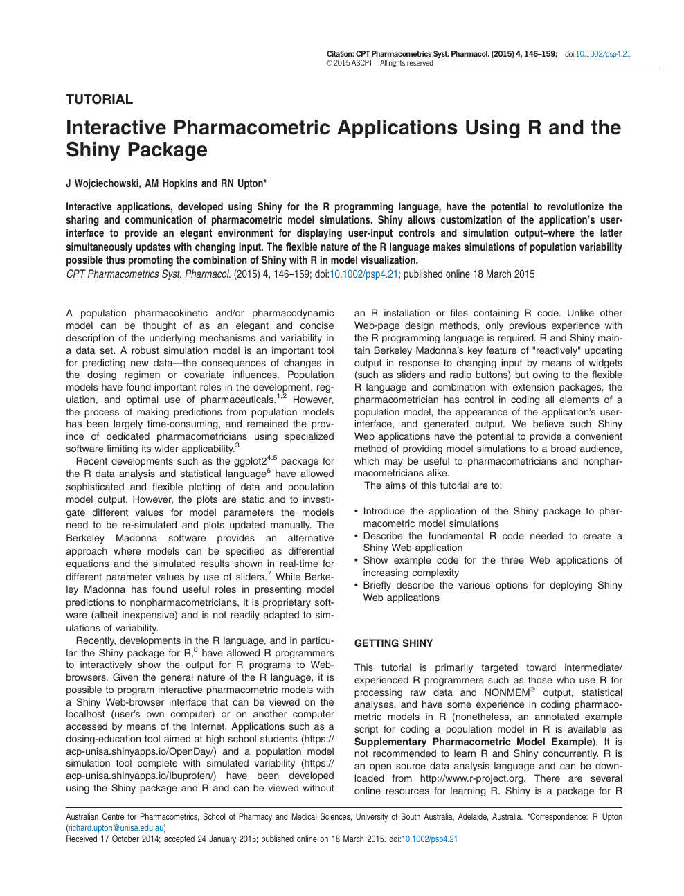 Interactive Pharmacometric Applications Using R and the Shiny
