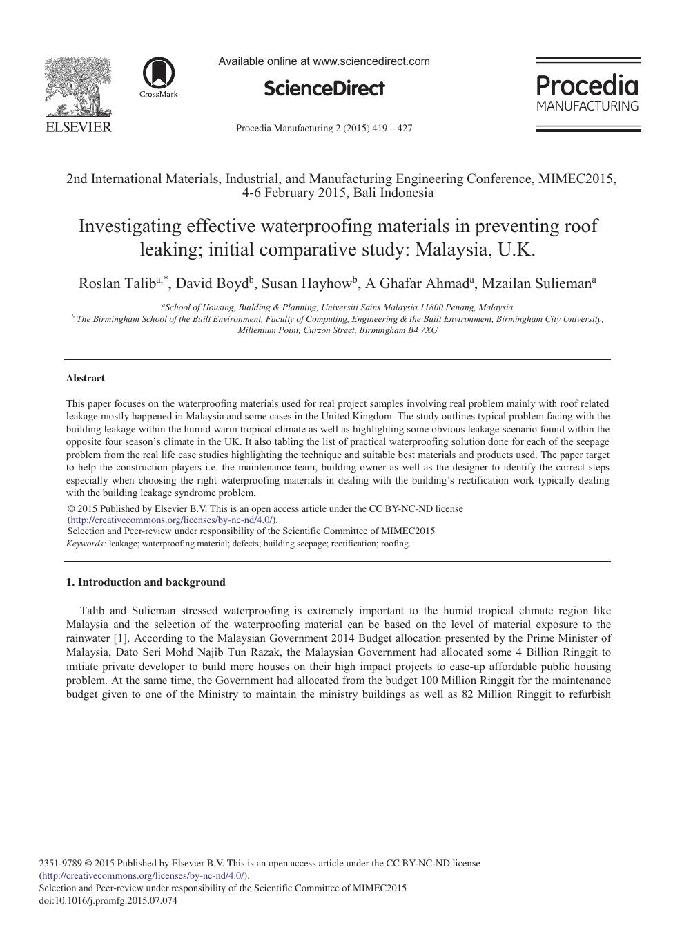 Investigating Effective Waterproofing Materials in Preventing Roof