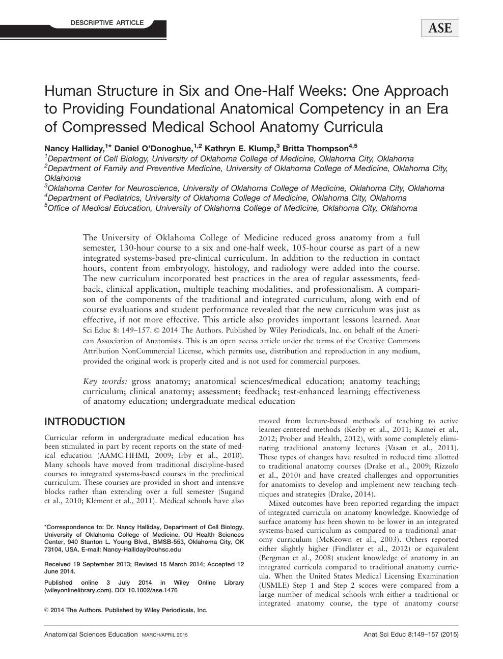 Human structure in six and one-half weeks: One approach to providing