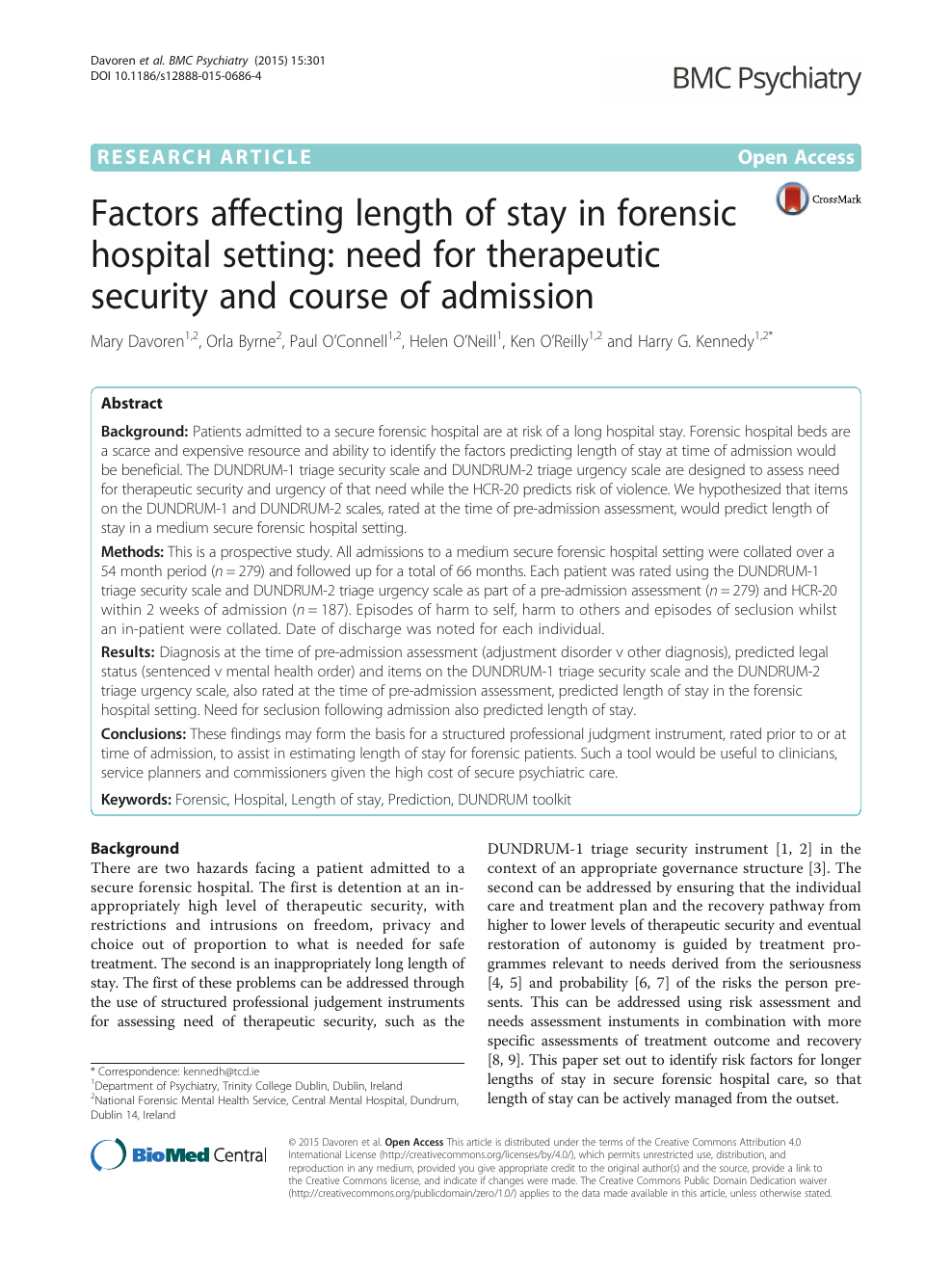 Factors affecting length of stay in forensic hospital setting: need