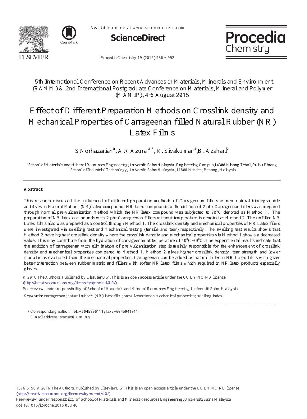 Effect of Different Preparation Methods on Crosslink density