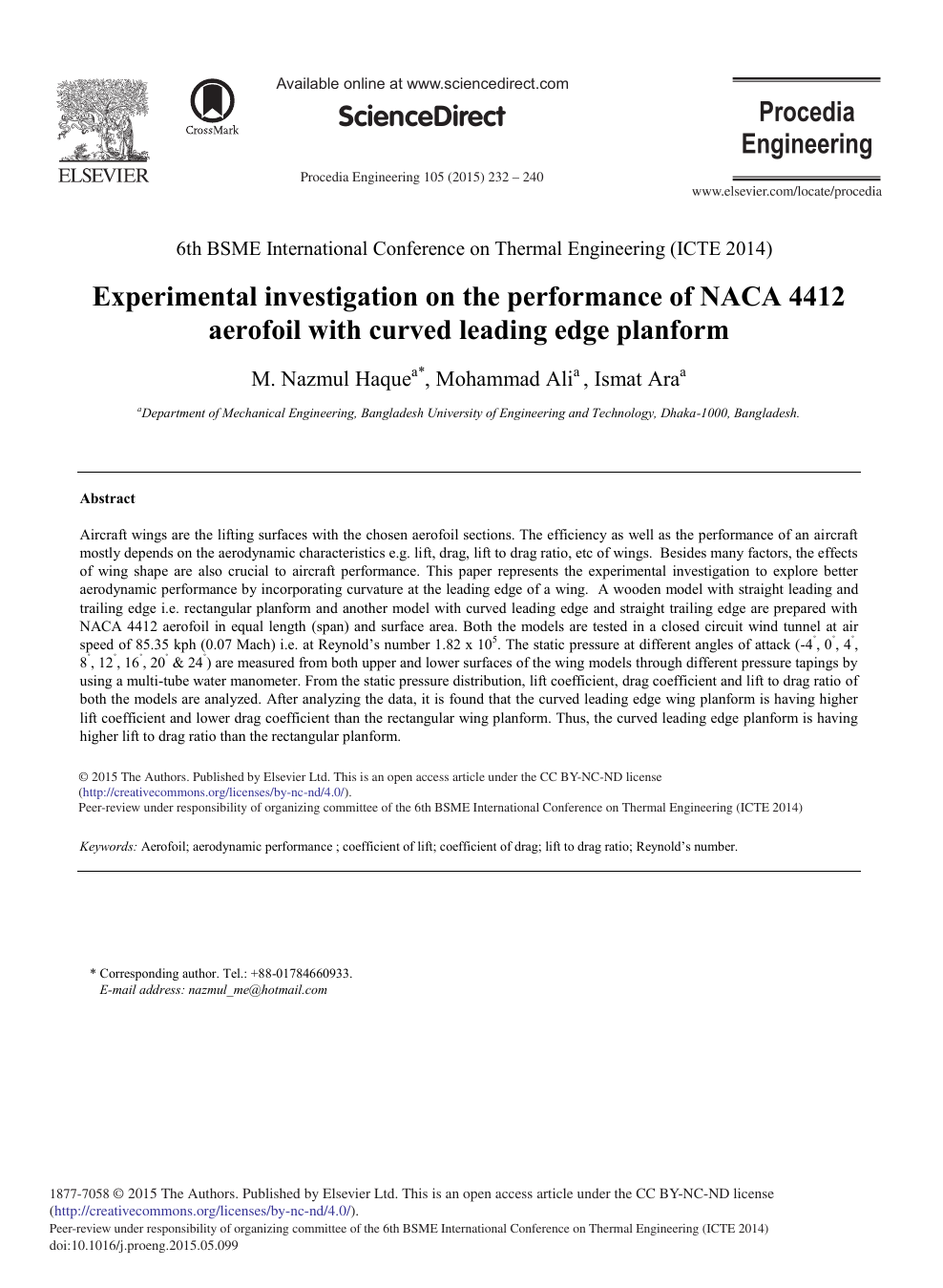 Experimental Investigation on the Performance of NACA 4412