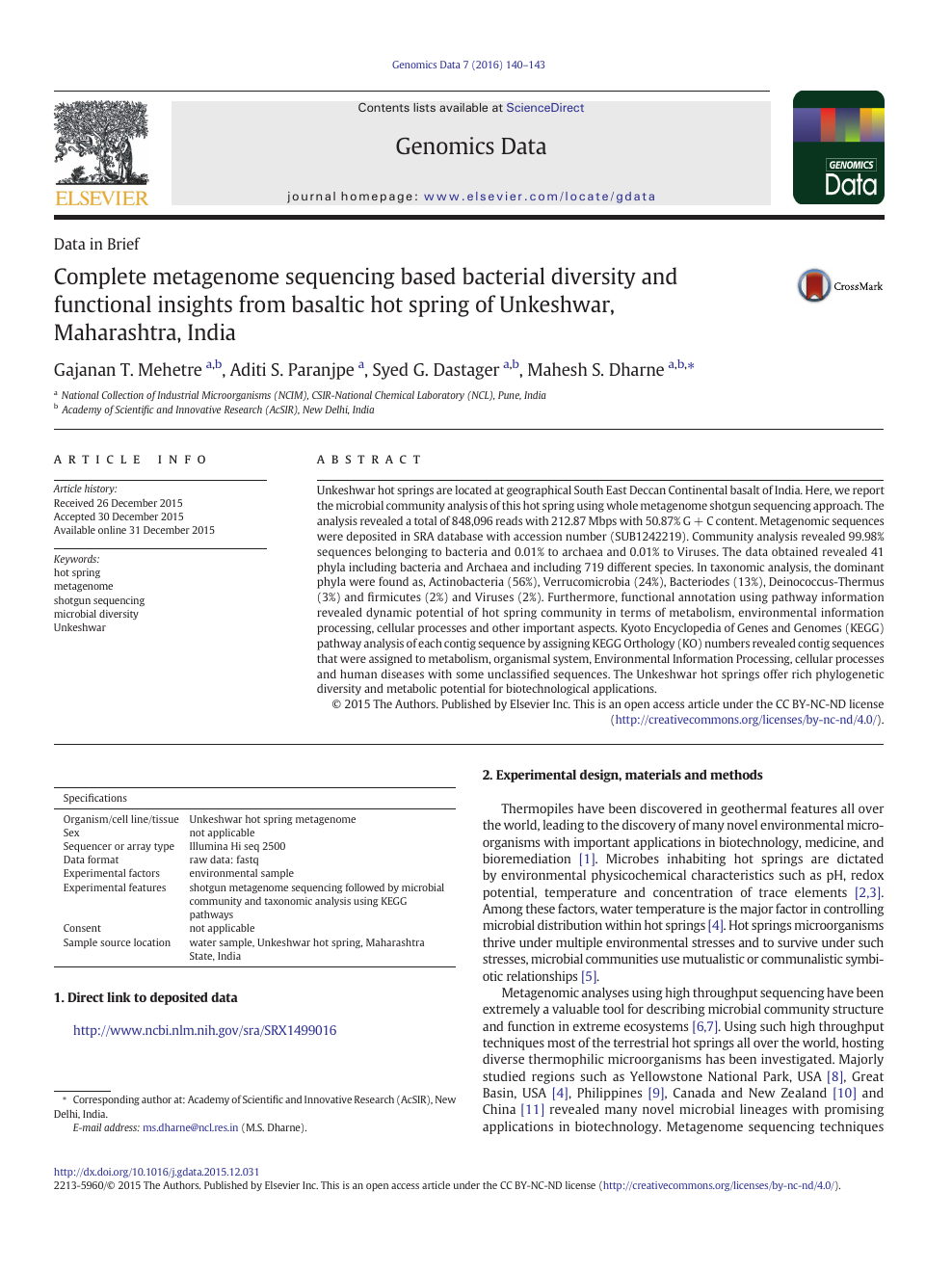 Complete metagenome sequencing based bacterial diversity and