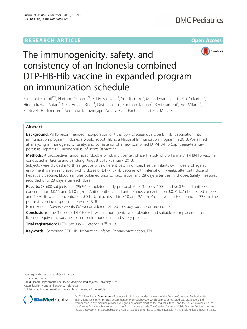 The immunogenicity, safety, and consistency of an Indonesia combined