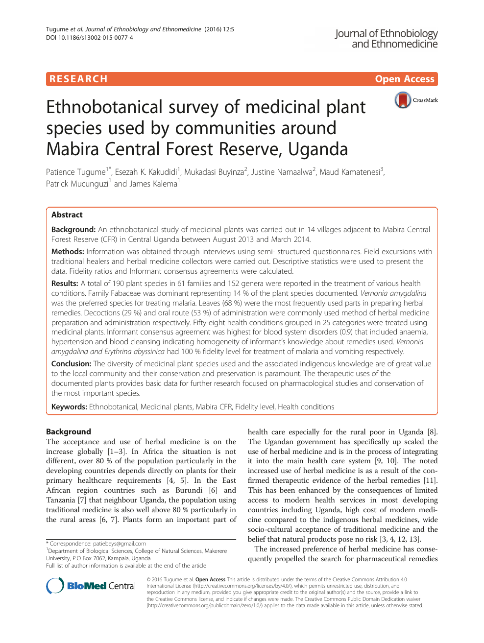 Ethnobotanical survey of medicinal plant species used by