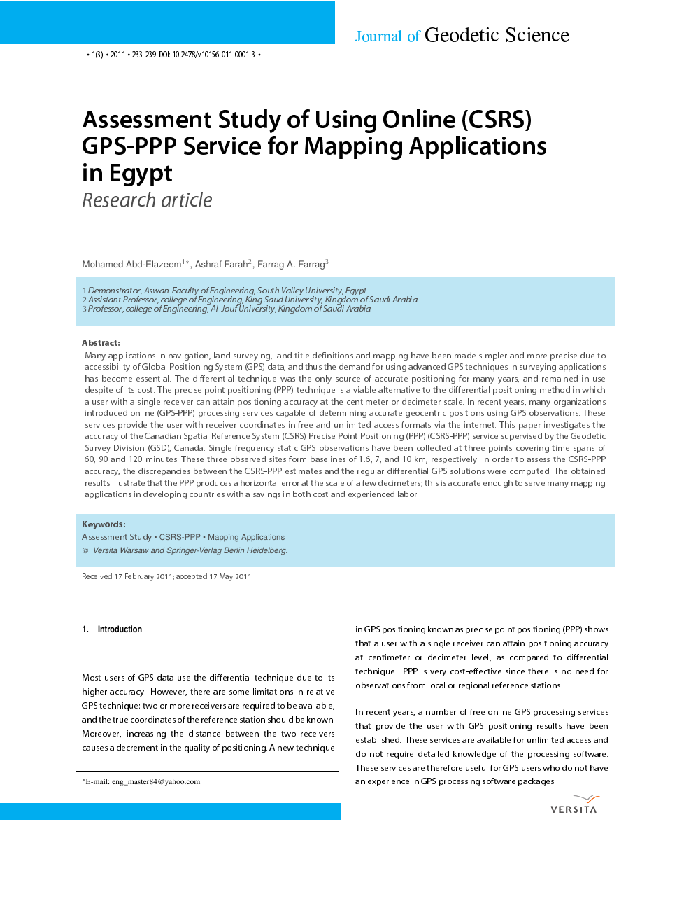 Assessment Study of Using Online (CSRS) GPS-PPP Service for Mapping