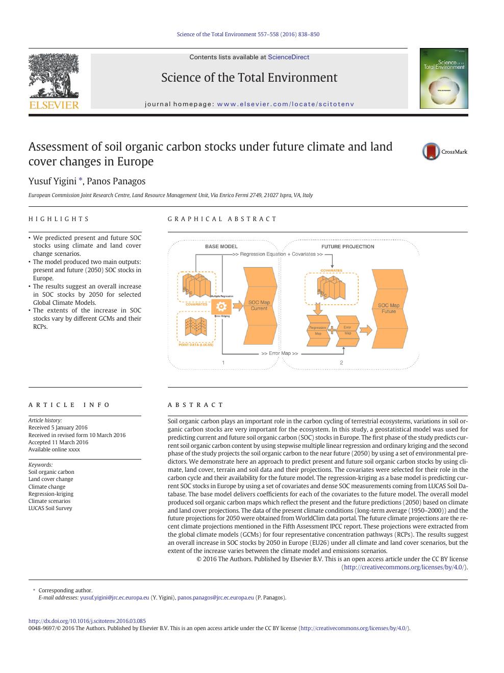 Assessment of soil organic carbon stocks under future