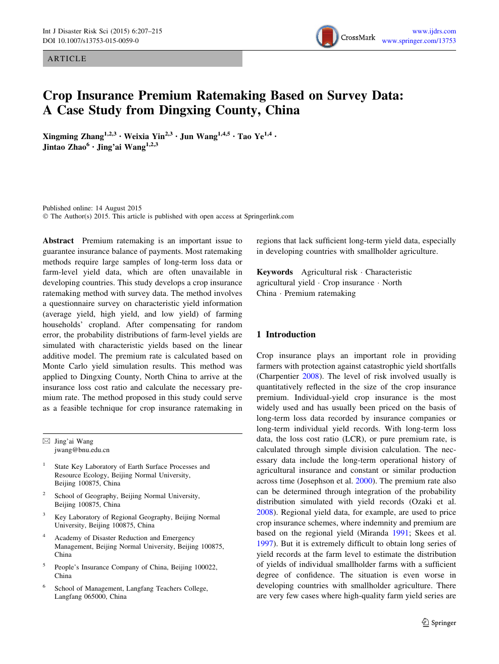 Crop Insurance Premium Ratemaking Based On Survey Data A Case Study From Dingxing County China Topic Of Research Paper In Agriculture Forestry And Fisheries Download Scholarly Article Pdf And Read For