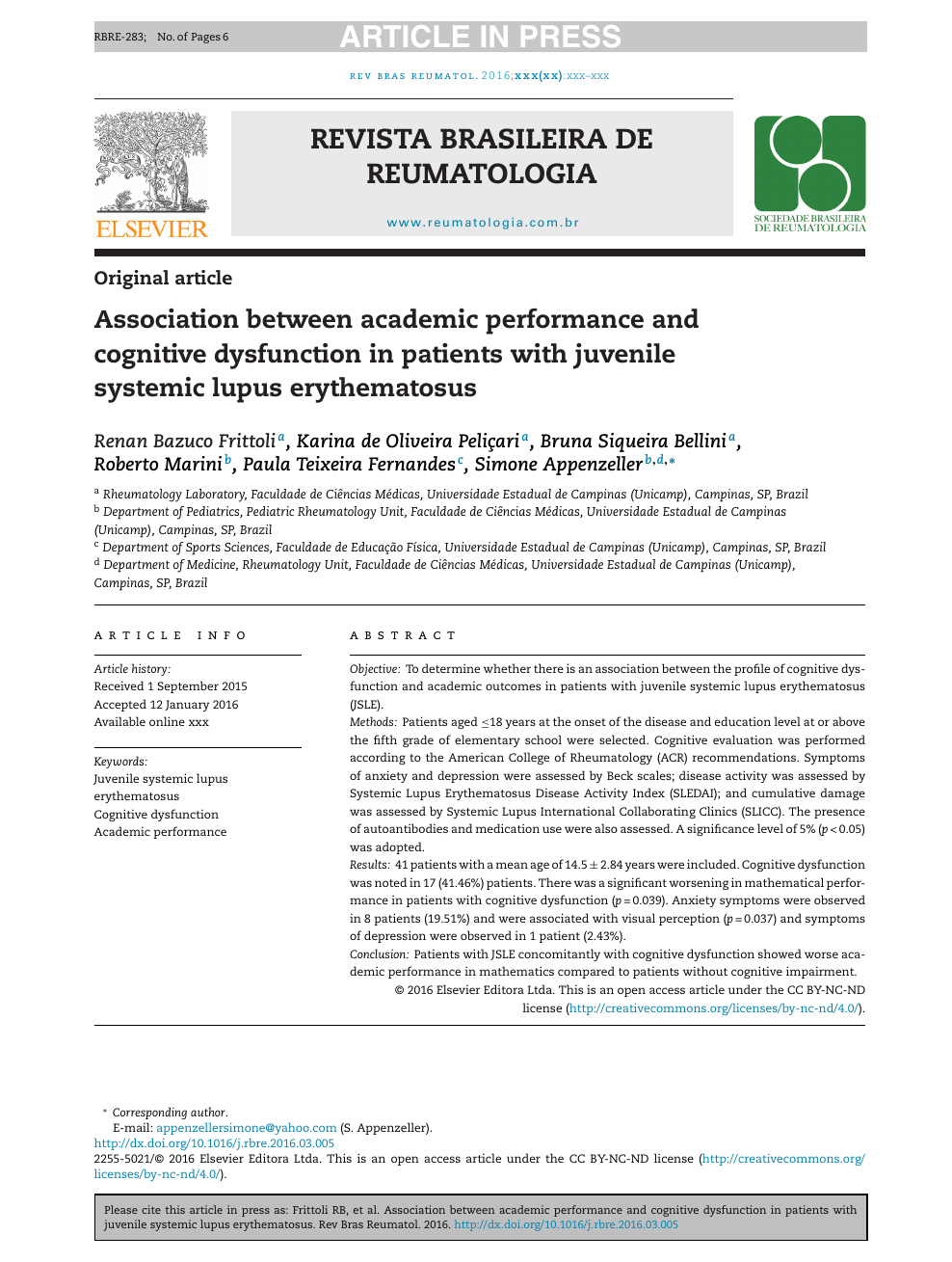 Association between academic performance and cognitive dysfunction