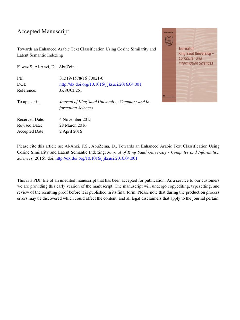 Toward an enhanced Arabic text classification using cosine
