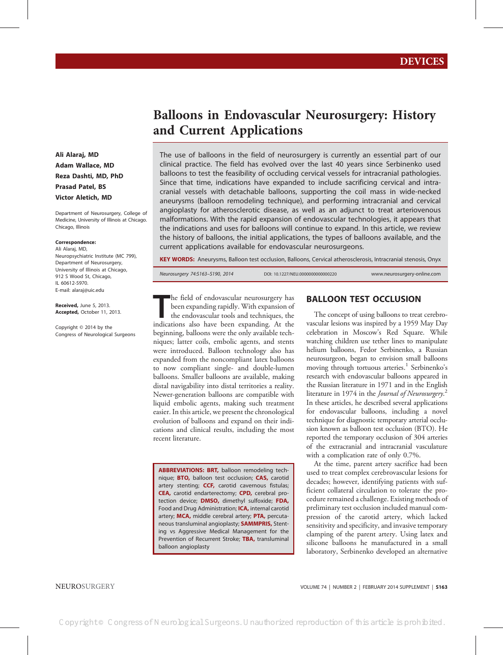 Balloons in Endovascular Neurosurgery – topic of research