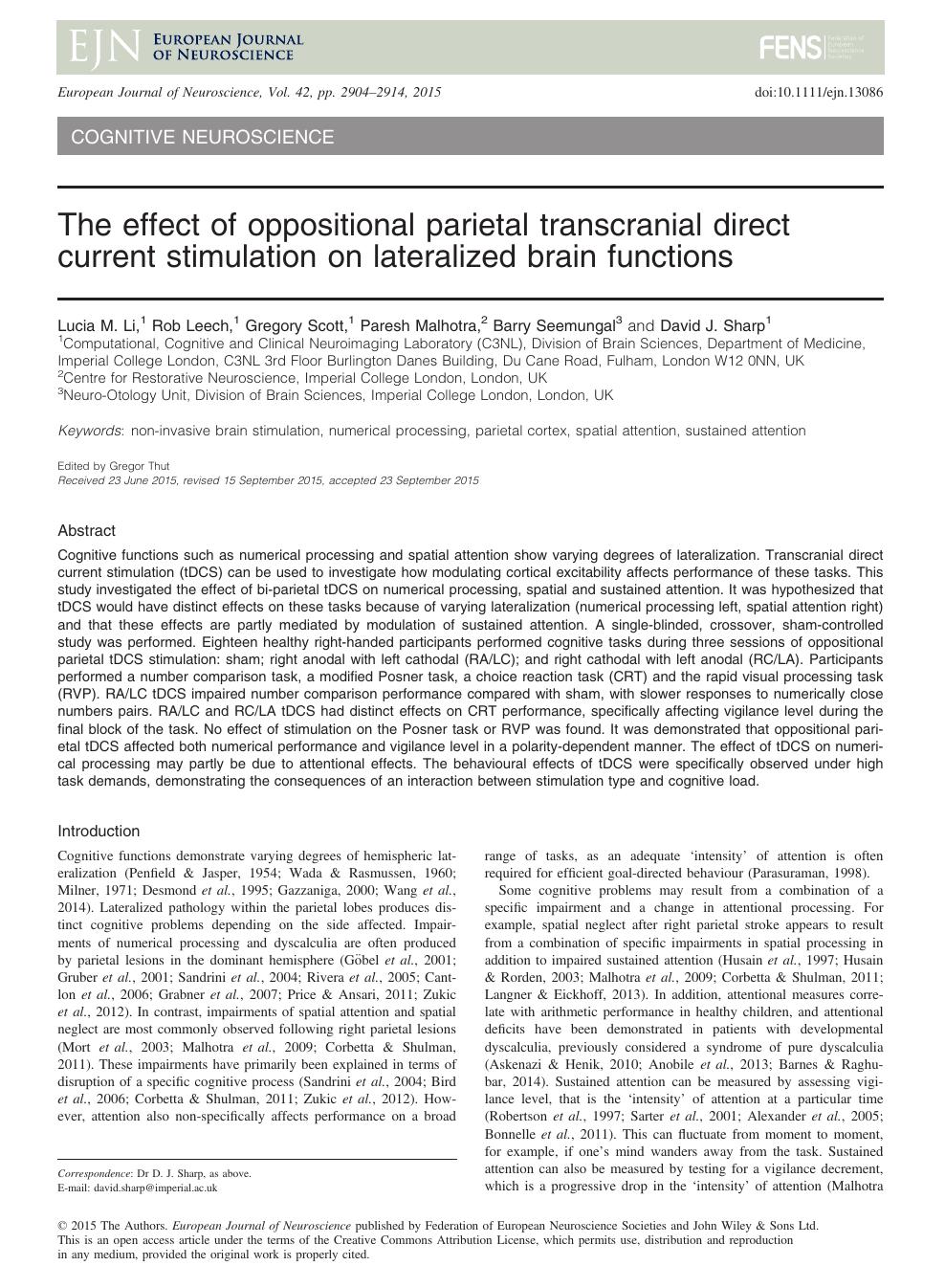 The effect of oppositional parietal transcranial direct