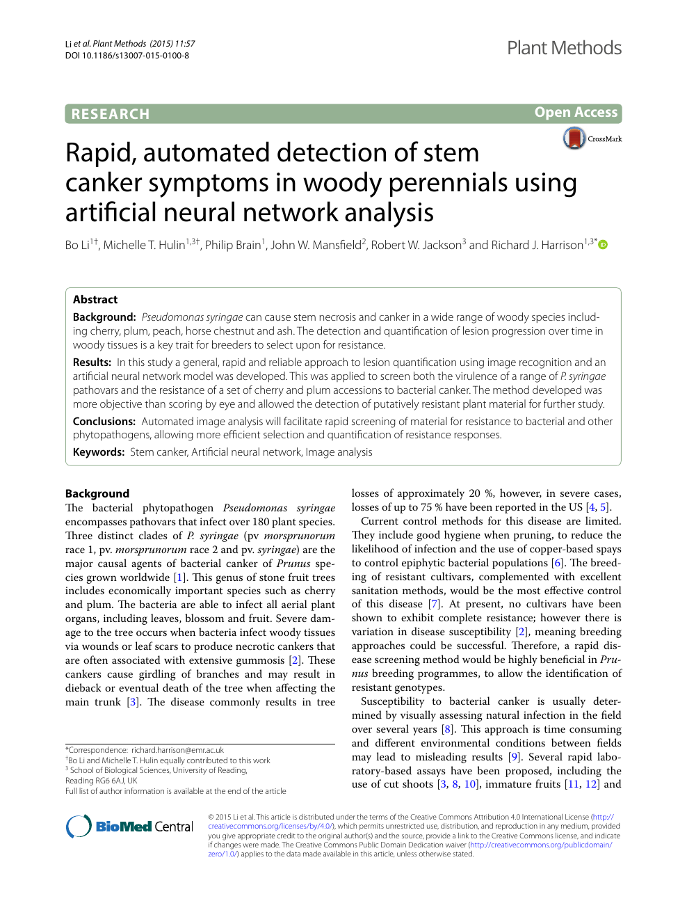 Rapid, automated detection of stem canker symptoms in woody