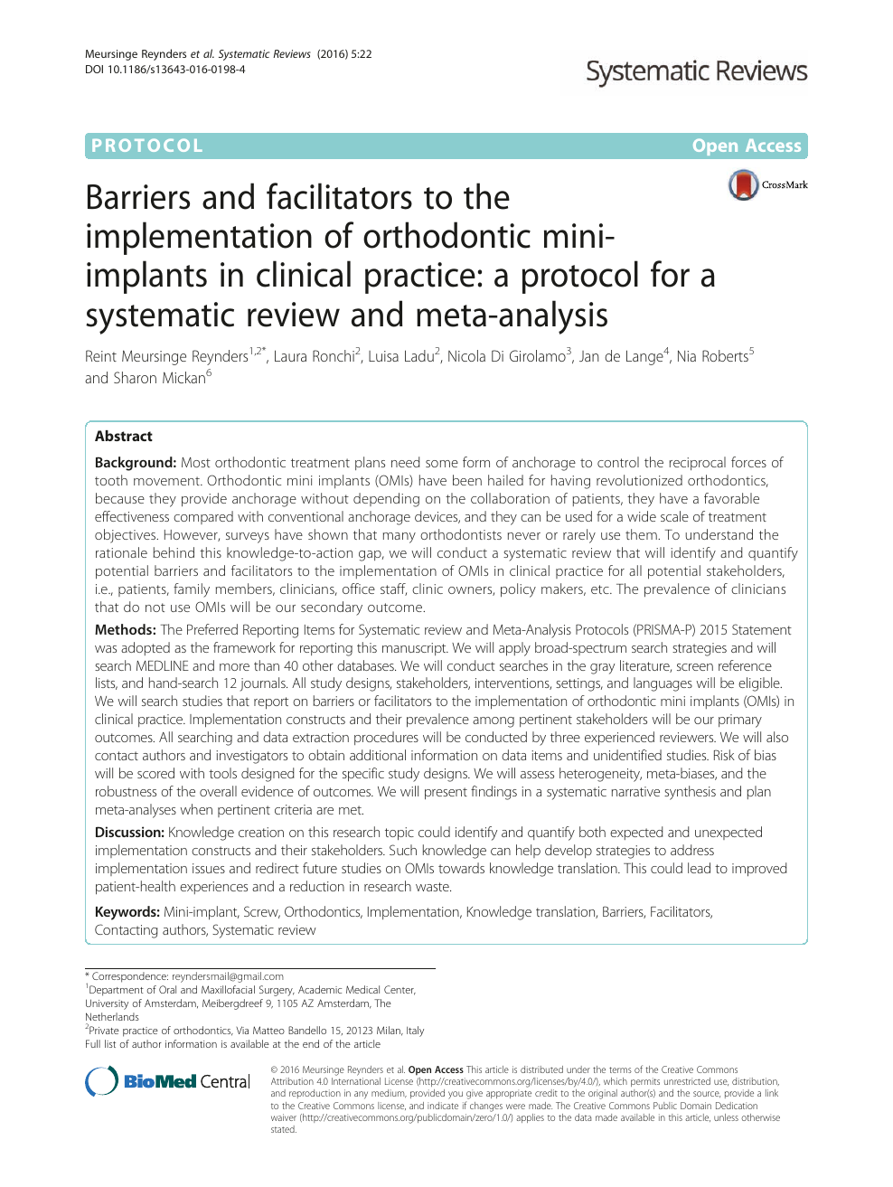 Barriers and facilitators to the implementation of