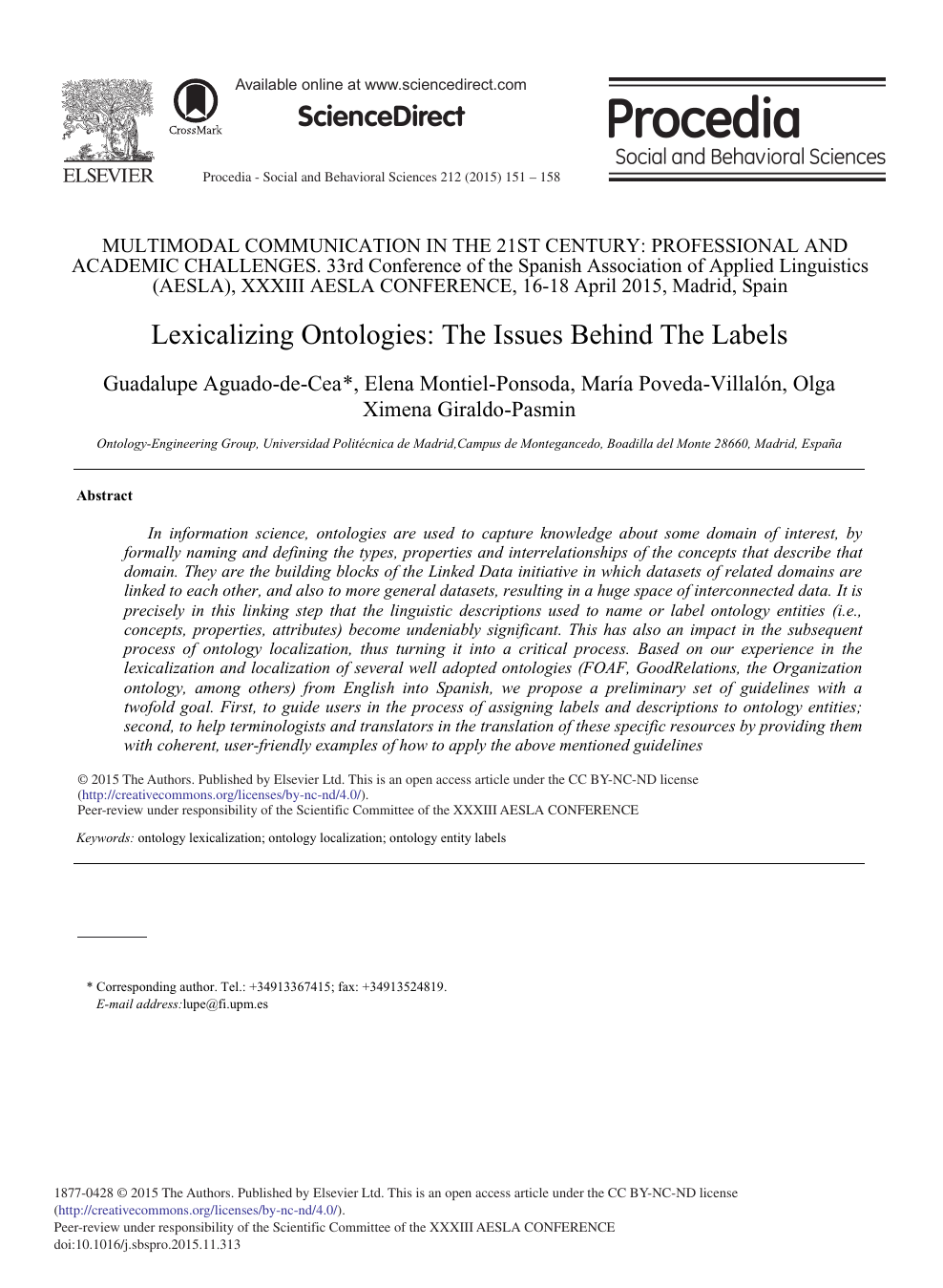 Lexicalizing Ontologies The Issues Behind The Labels