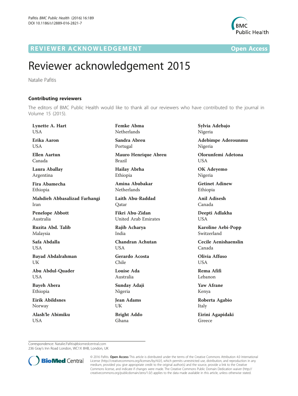 Reviewer acknowledgement 2015 – topic of research paper in