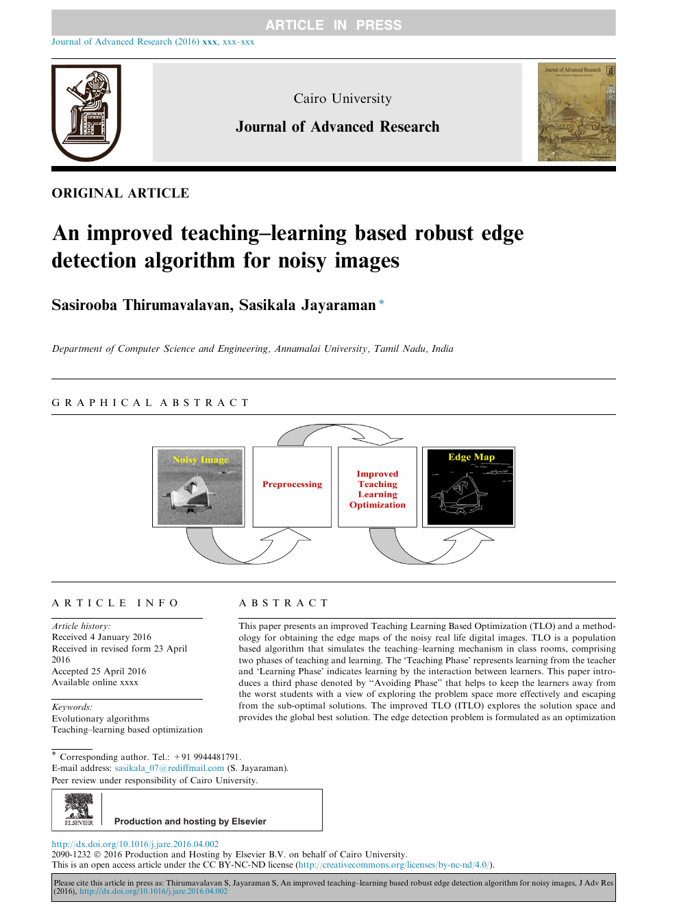 An improved teaching–learning based robust edge detection