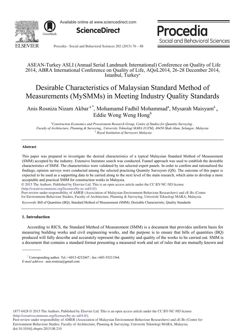 Desirable Characteristics of Malaysian Standard Method of