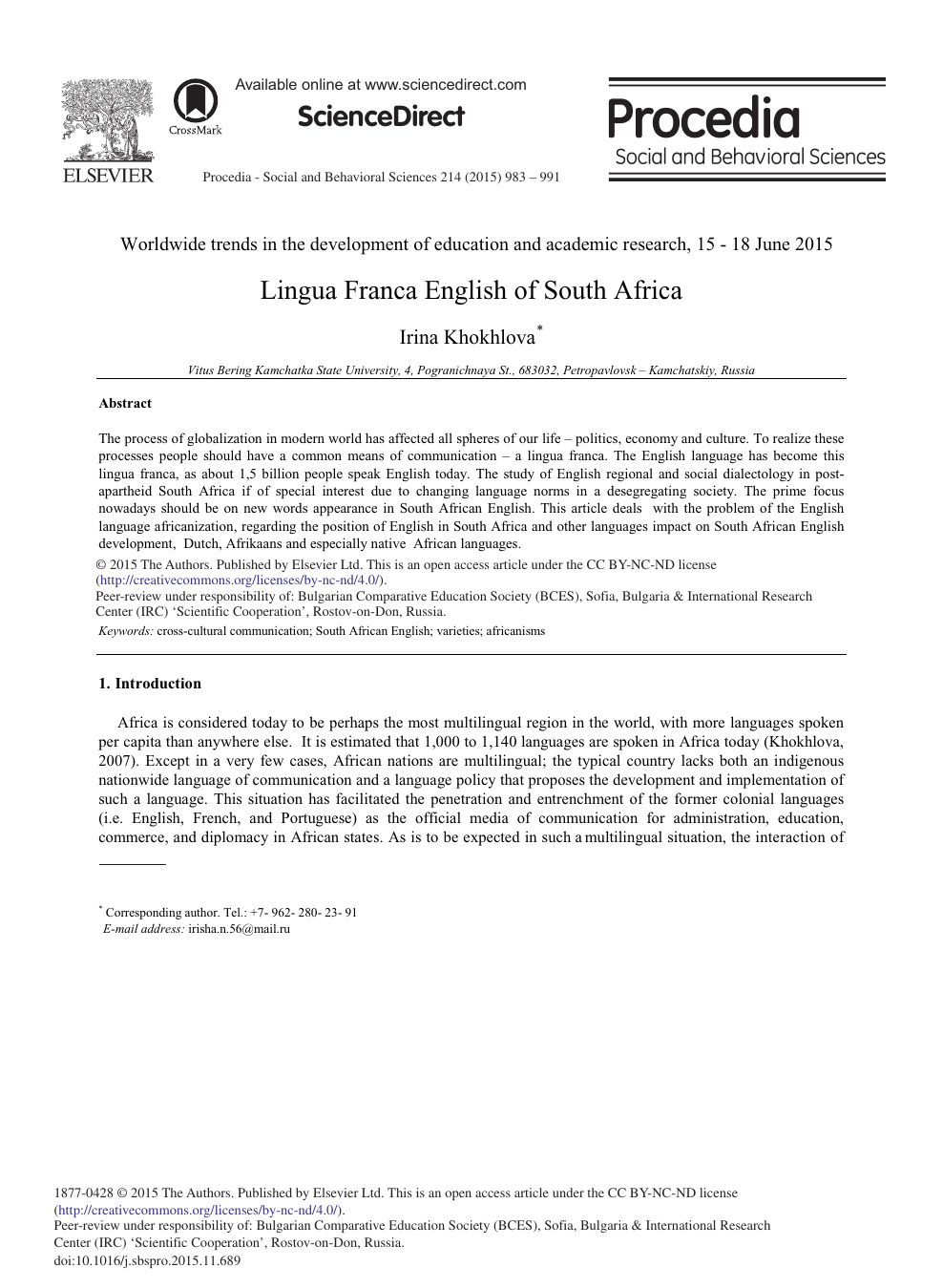 Lingua Franca English of South Africa – topic of research paper in