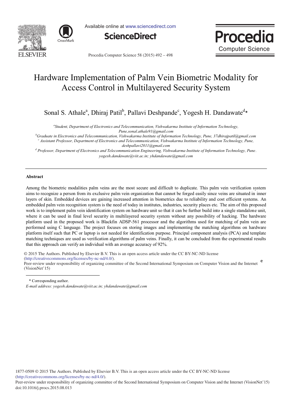 Hardware Implementation of Palm Vein Biometric Modality for