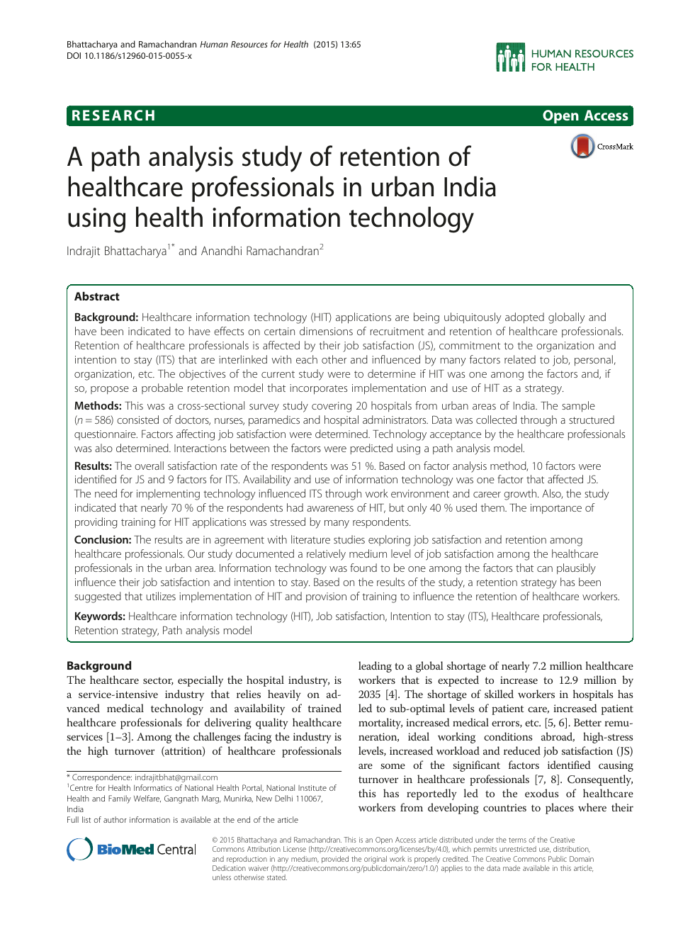 A path analysis study of retention of healthcare professionals in
