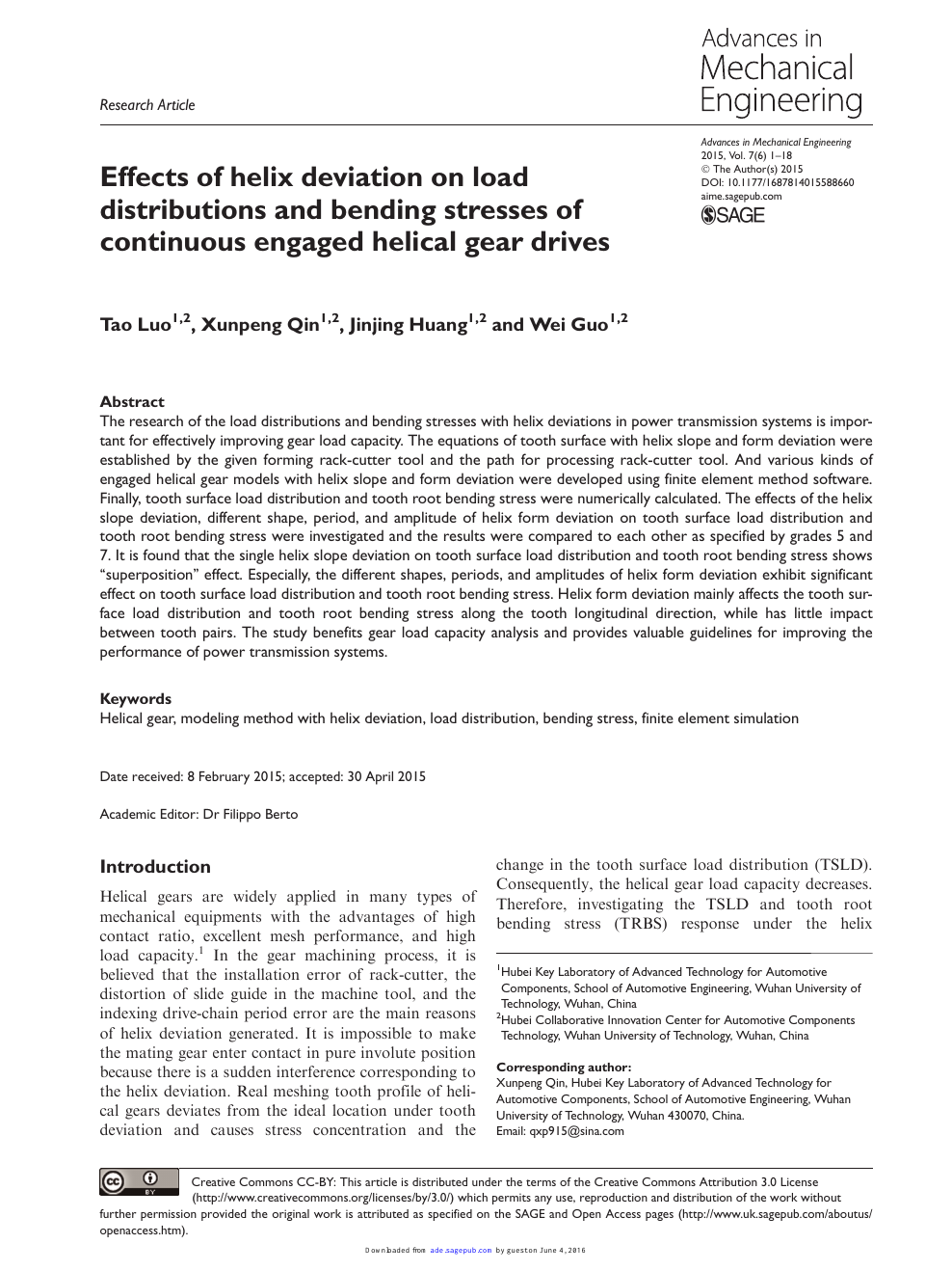 Effects of helix deviation on load distributions and bending