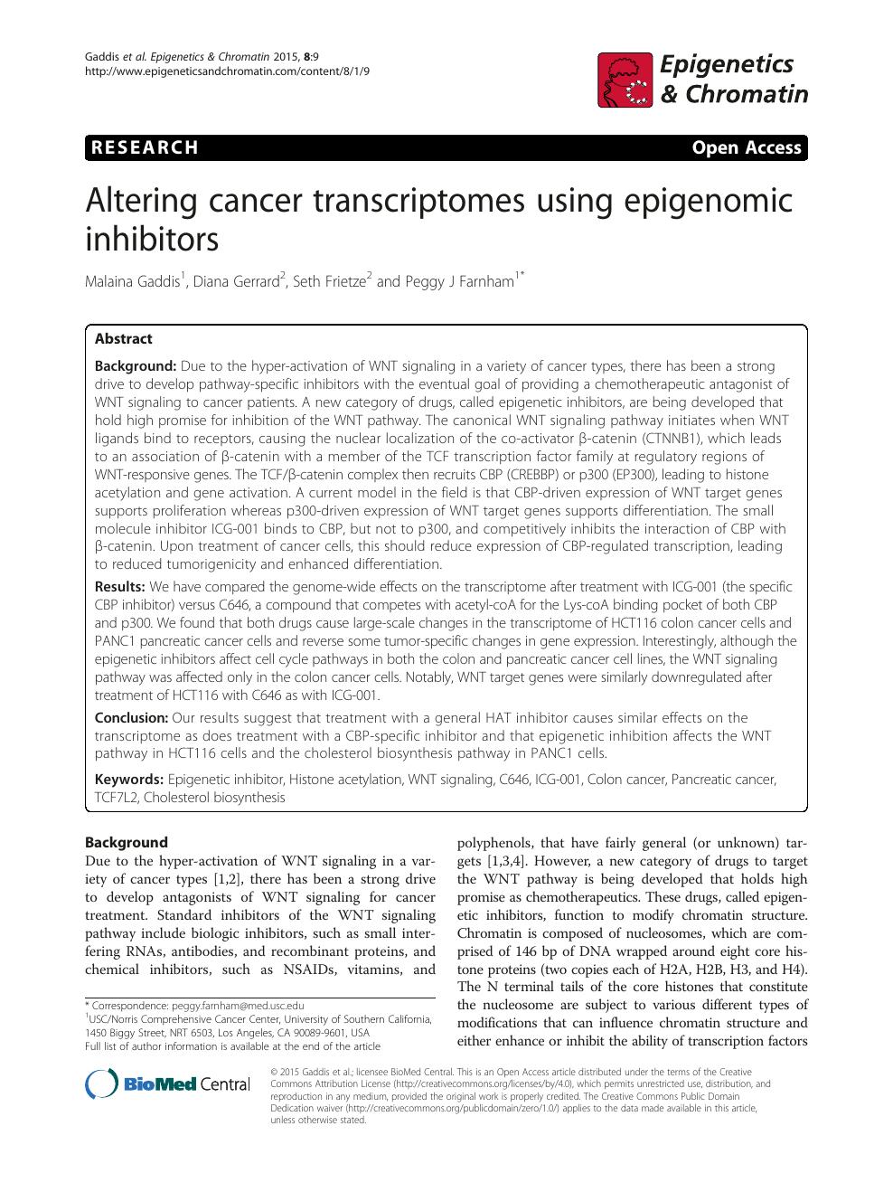 Altering cancer transcriptomes using epigenomic inhibitors