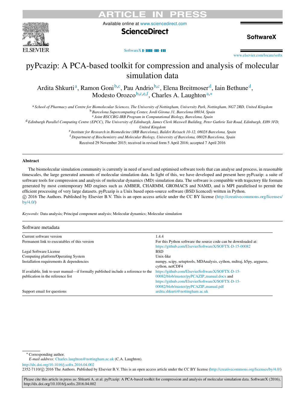 pyPcazip: A PCA-based toolkit for compression and analysis of