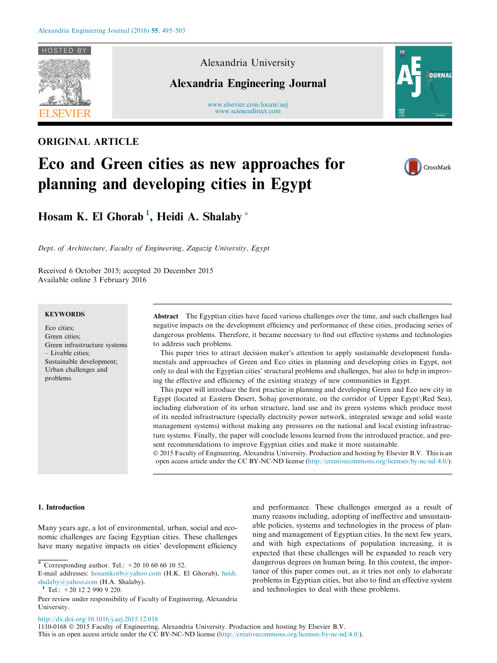 Eco and Green cities as new approaches for planning and