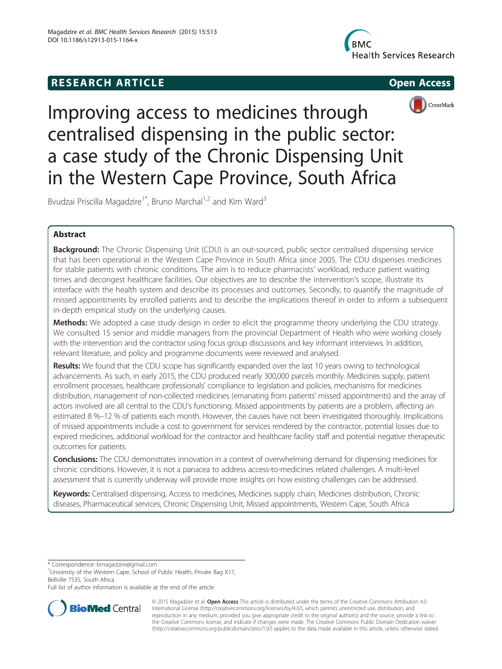 Improving access to medicines through centralised dispensing