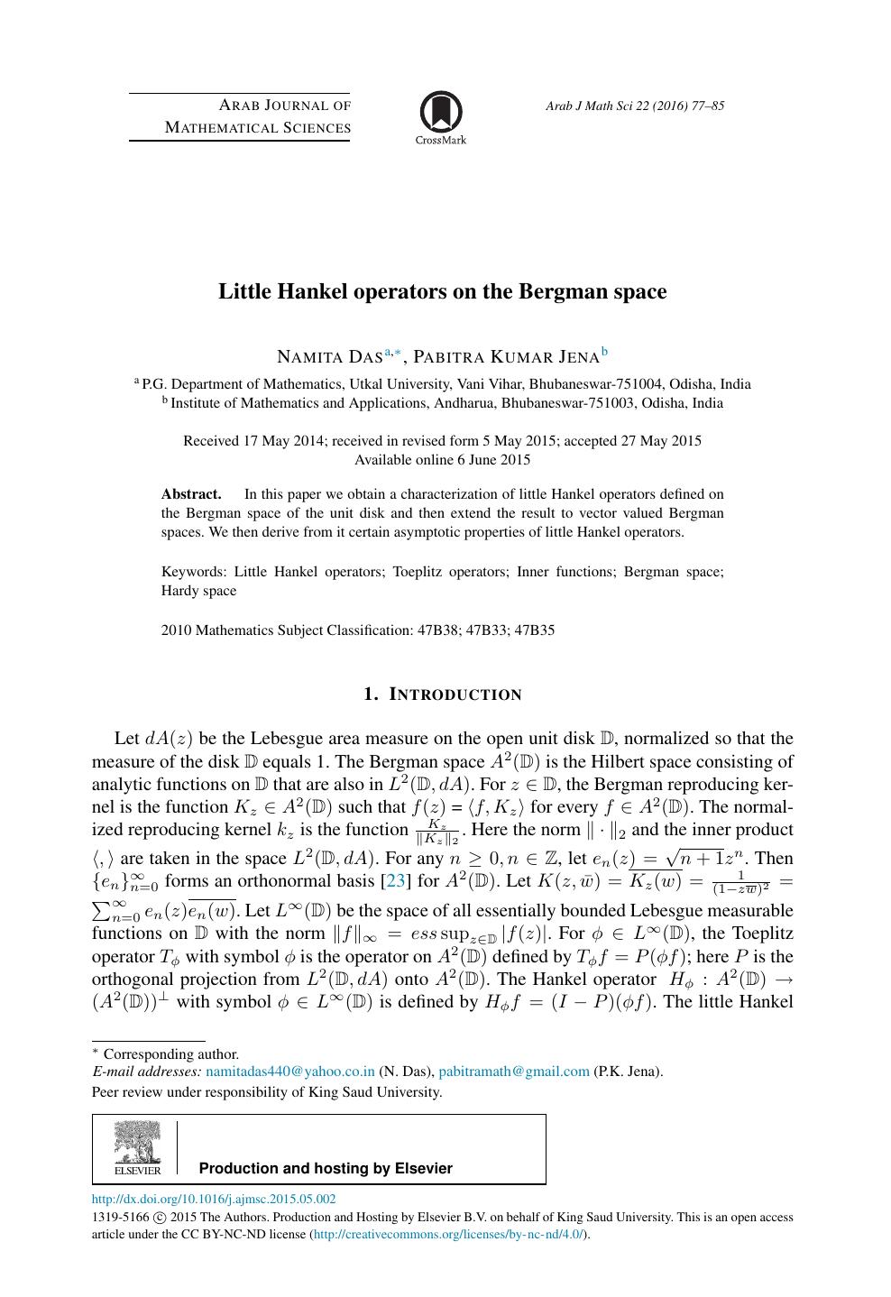 Little Hankel operators on the Bergman space – topic of research