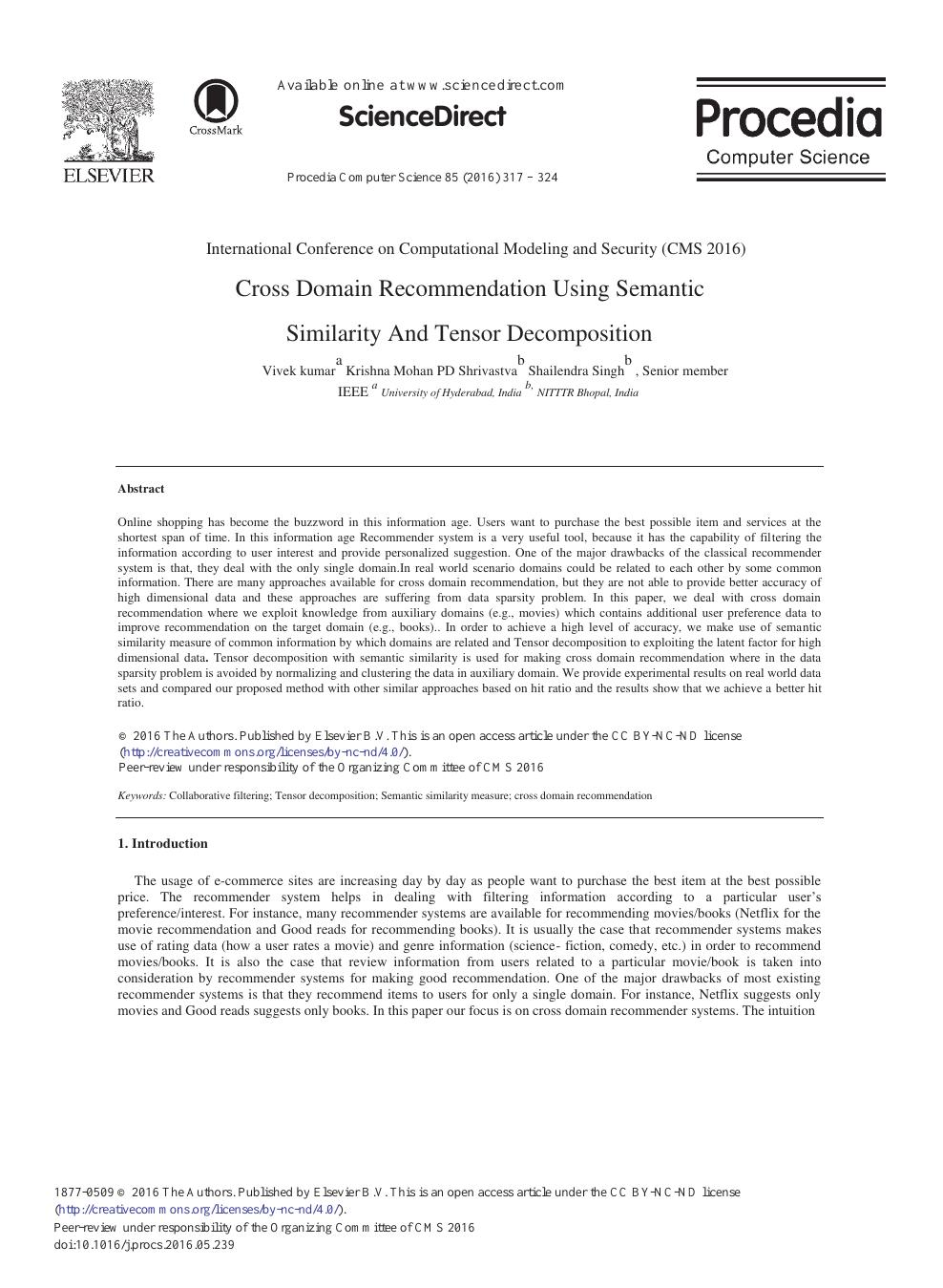 Cross Domain Recommendation Using Semantic Similarity and Tensor