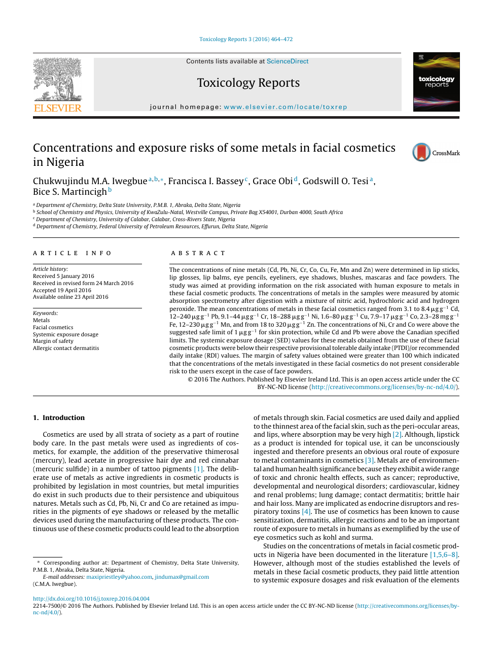 Concentrations and exposure risks of some metals in facial cosmetics