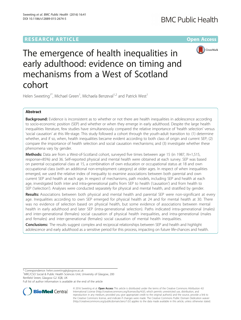 The emergence of health inequalities in early adulthood