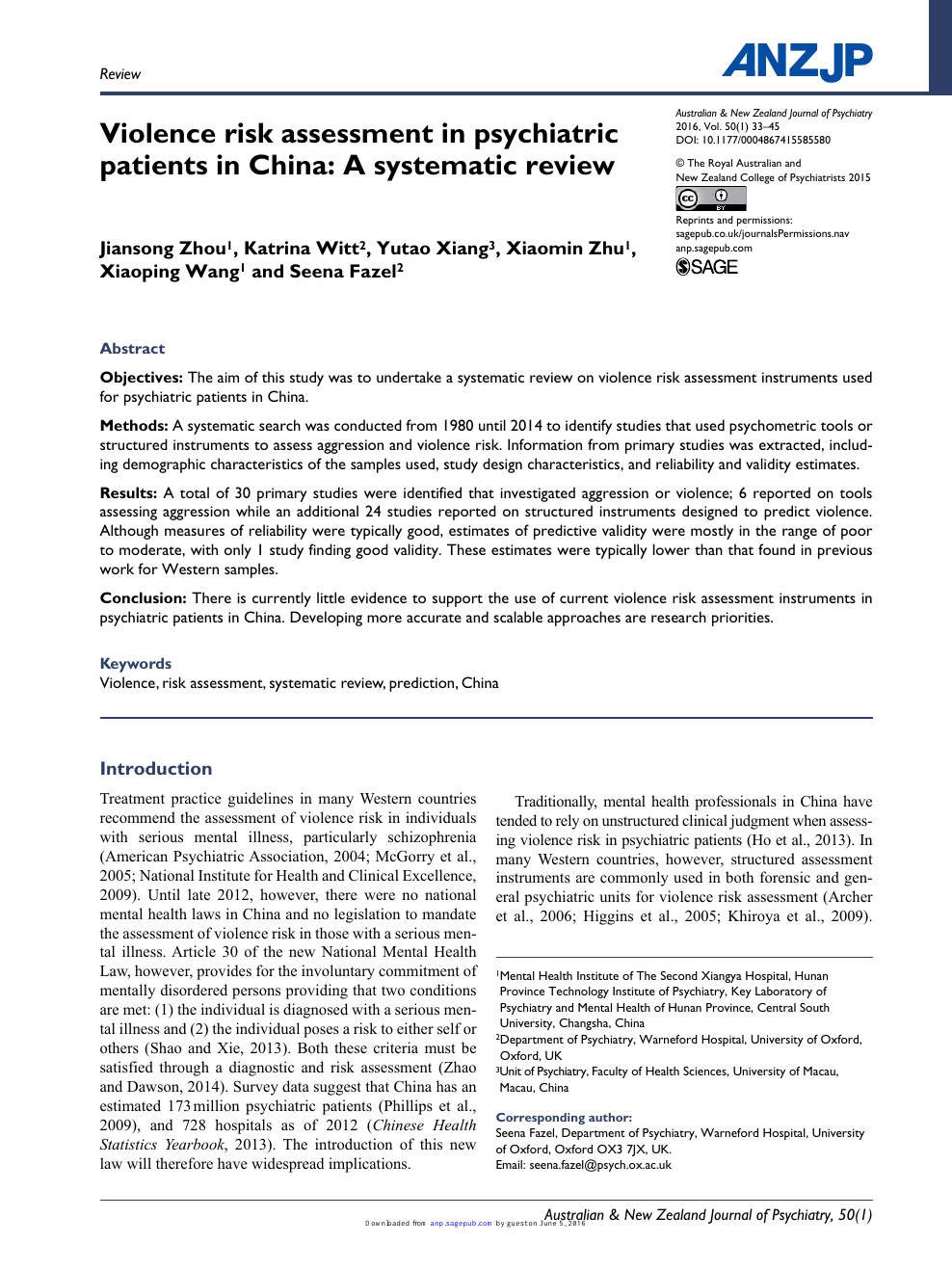 Violence risk assessment in psychiatric patients in China: A
