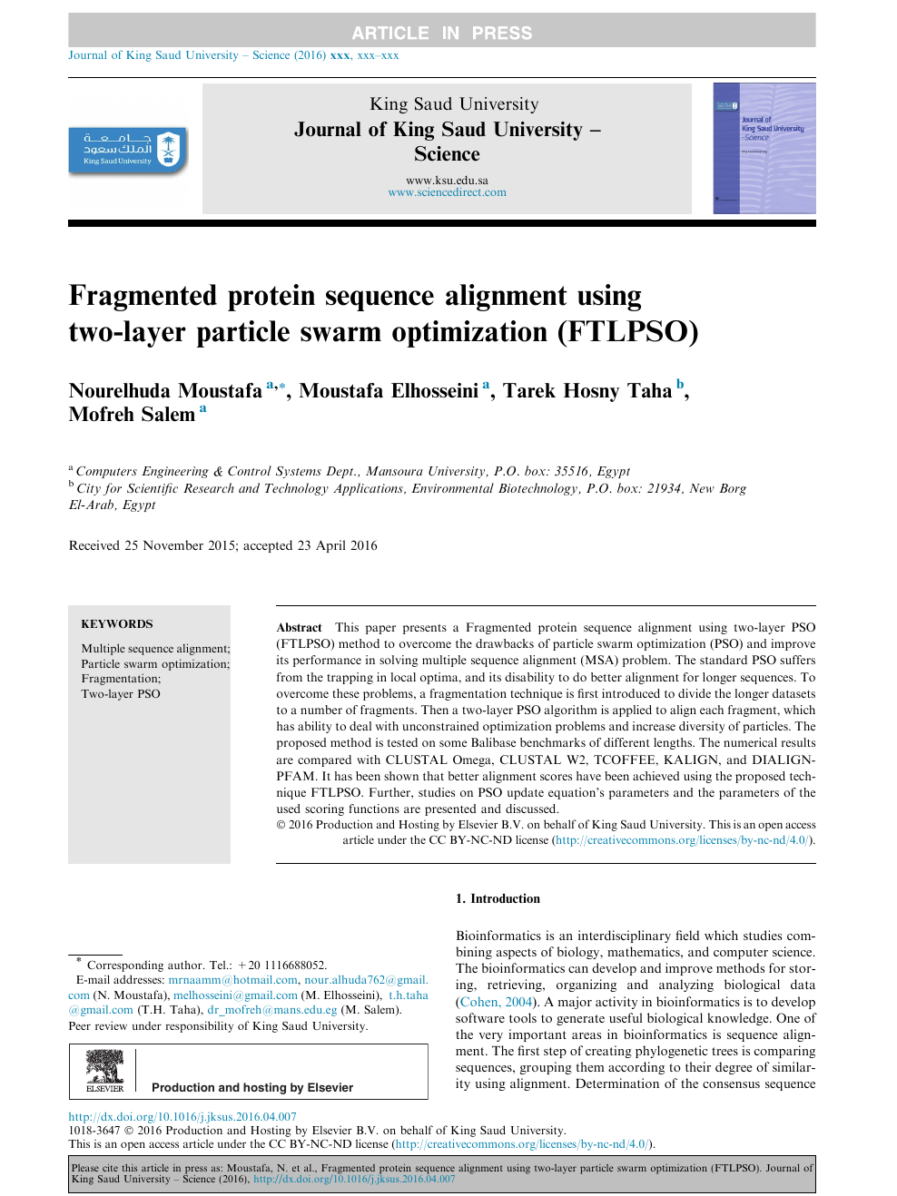 Fragmented protein sequence alignment using two-layer particle swarm