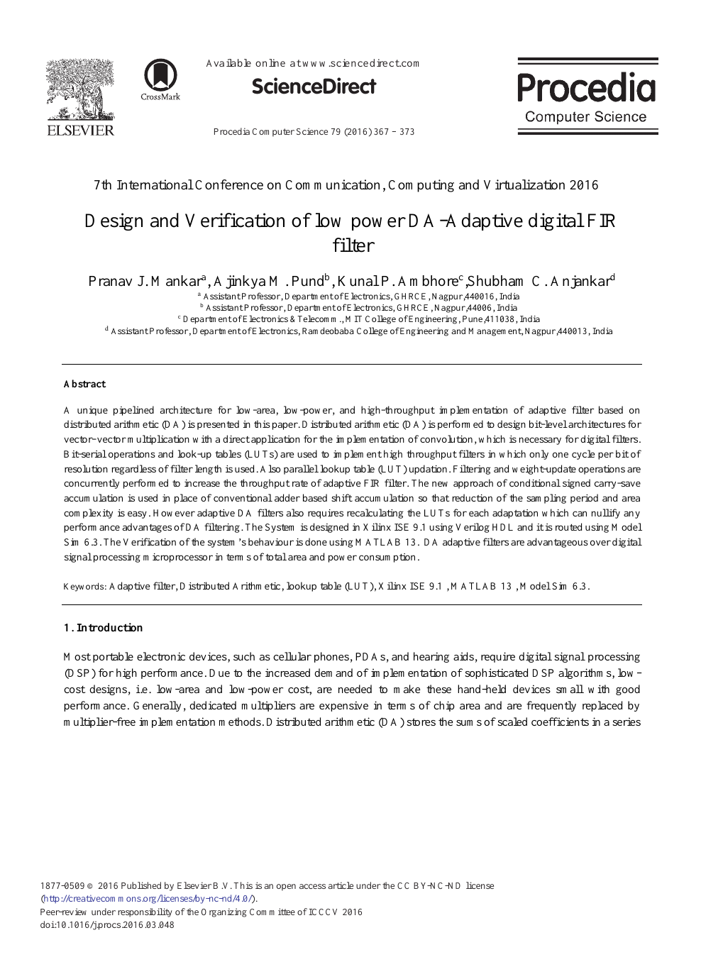 Design and Verification of Low Power DA-Adaptive Digital FIR