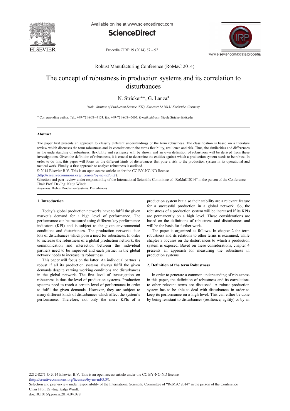 The Concept Of Robustness In Production Systems And Its