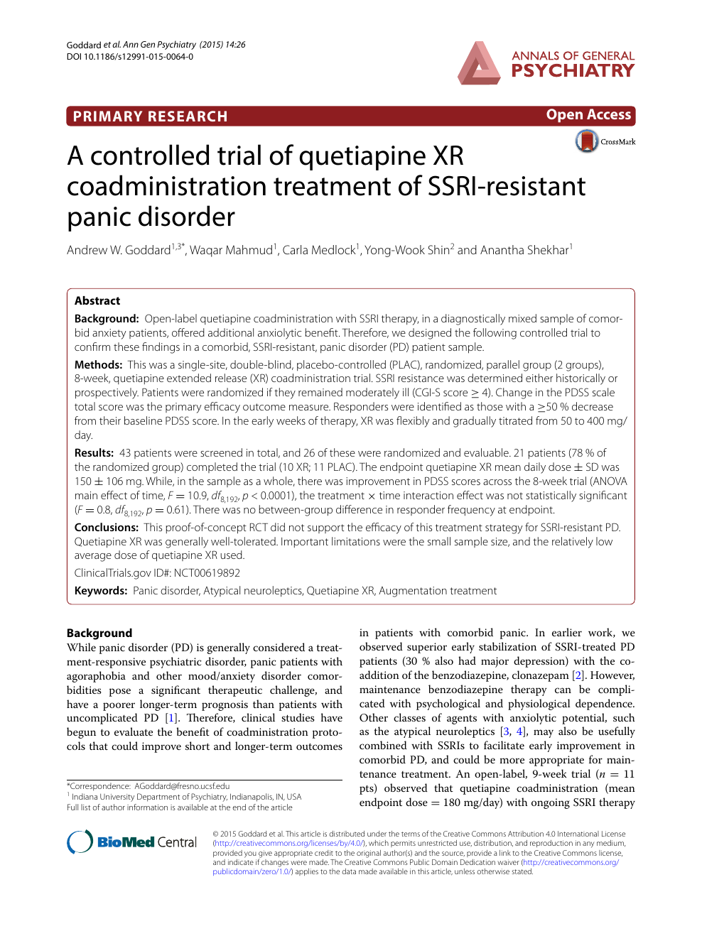 A controlled trial of quetiapine XR coadministration treatment of