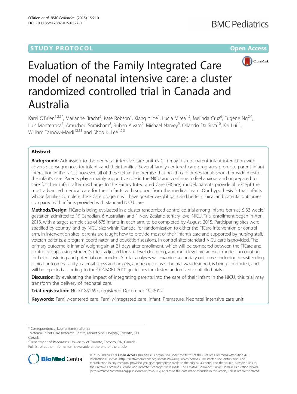 Evaluation of the Family Integrated Care model of neonatal