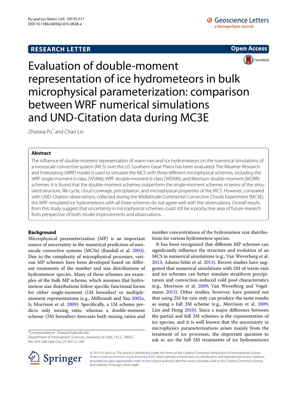 Evaluation of double-moment representation of ice