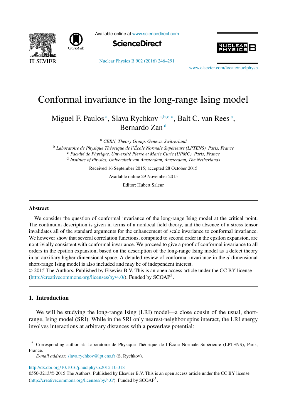 Conformal invariance in the long-range Ising model – topic