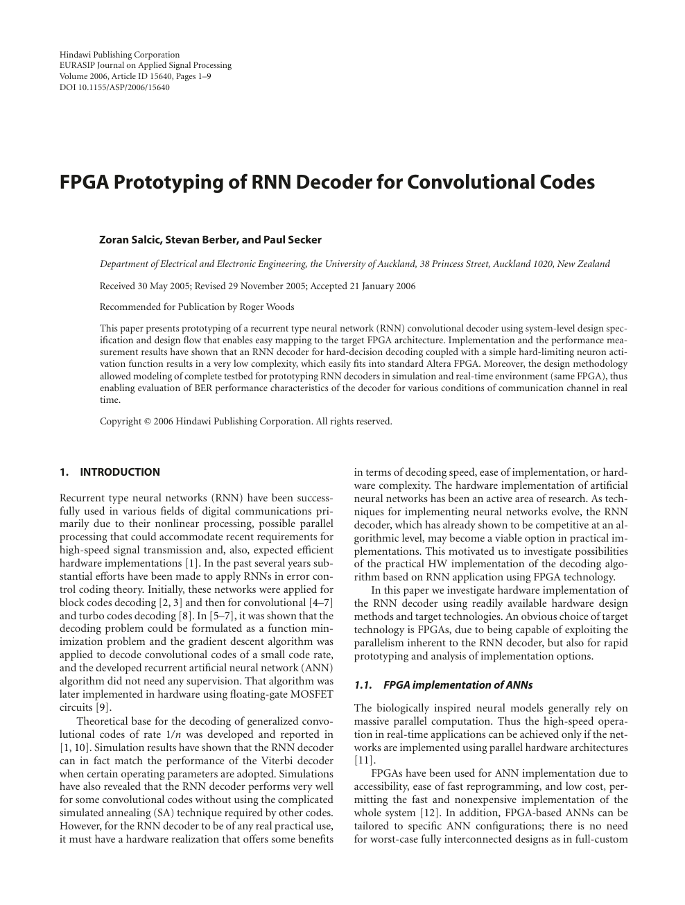 FPGA Prototyping of RNN Decoder for Convolutional Codes – topic of
