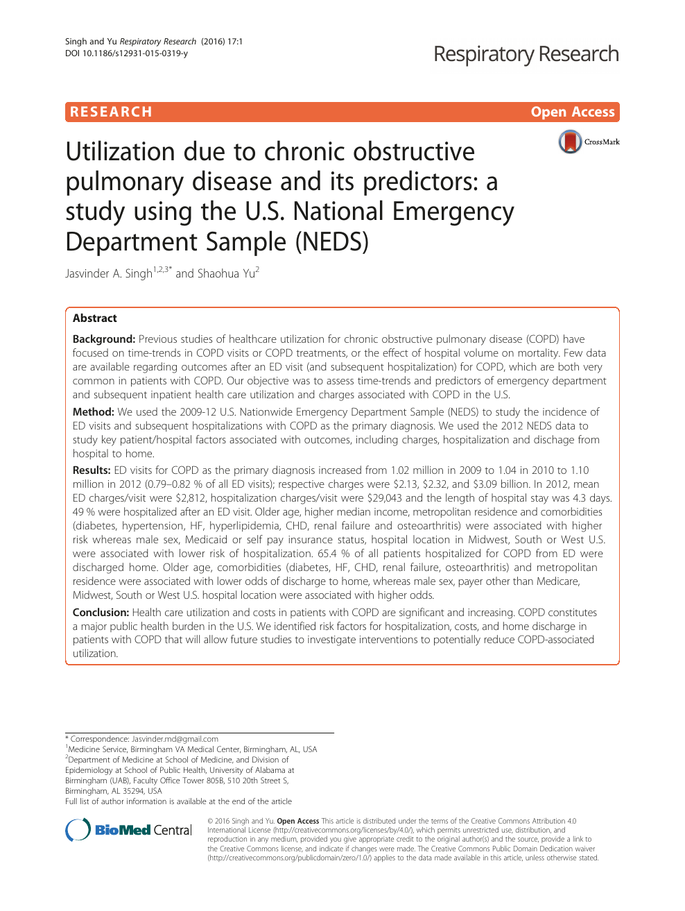 Utilization due to chronic obstructive pulmonary disease and