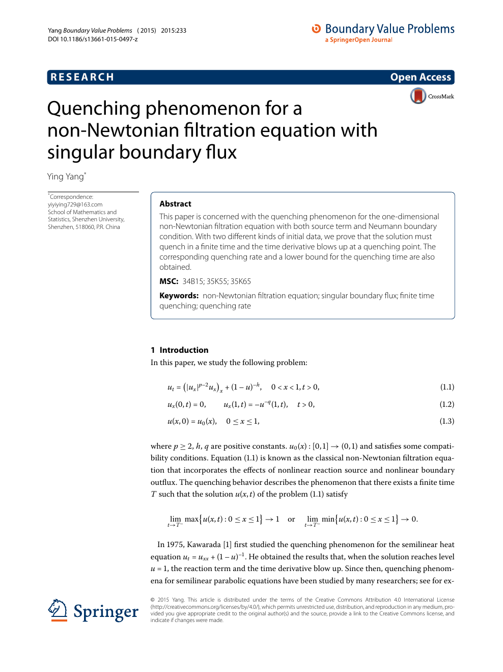 Quenching phenomenon for a non-Newtonian filtration equation